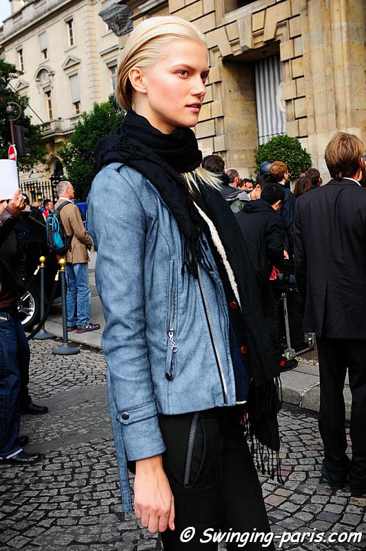 Kasia Struss leaving Balanciaga show, Paris September 2010