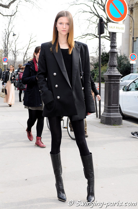 Kasia Struss leaving Chanel show, Paris F/W 2013 RtW Fashion Week, March 2013
