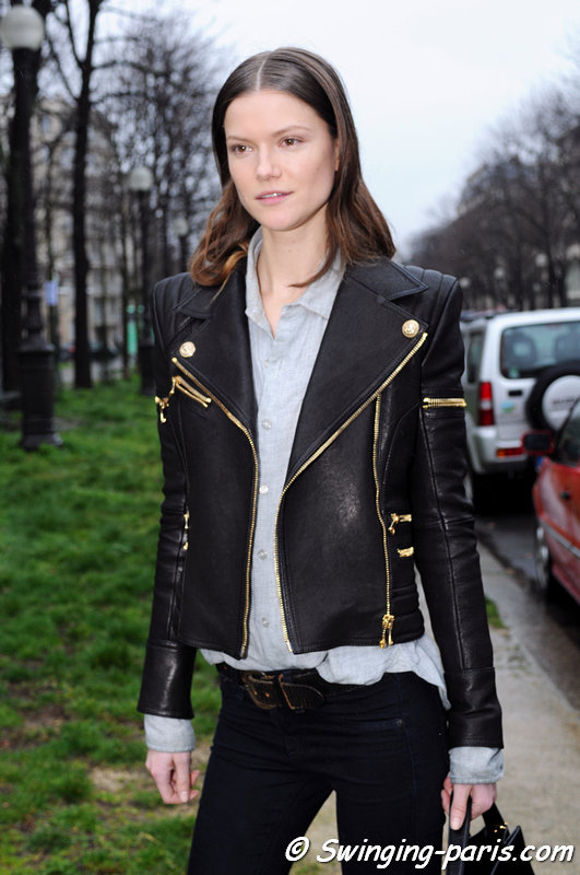The Polish model Kasia Struss leaving Balenciaga show, Paris F/W 2014 RtW Fashion Week, February 2014
