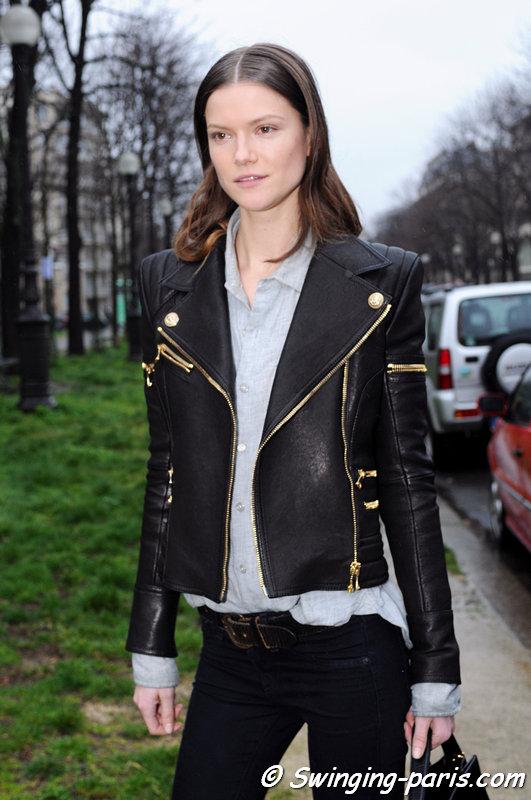 The Polish model Kasia Struss leaving Balenciaga show, Paris F/W 2014 RtW Fashion Week, February 2014