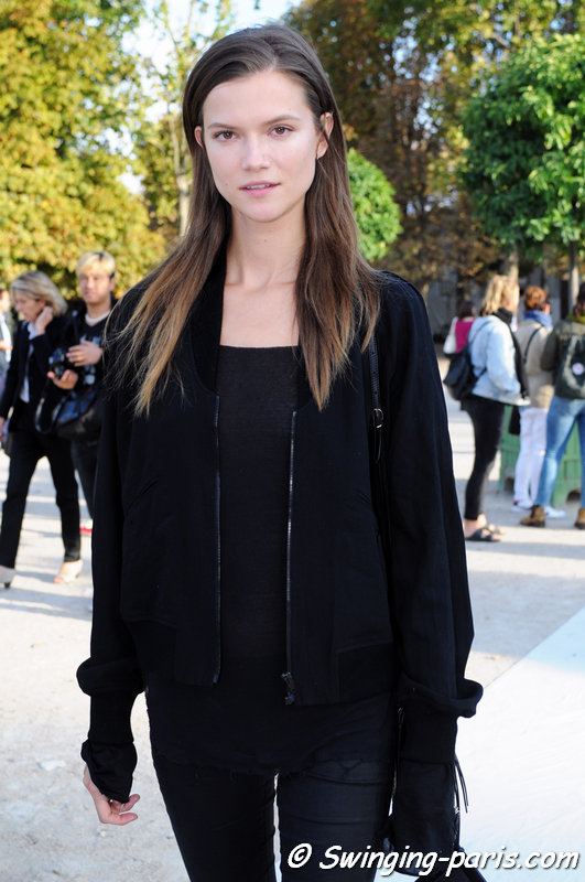 Kasia Struss leaving Nina Ricci show, Paris S/S 2015 RtW Fashion Week, September 2014