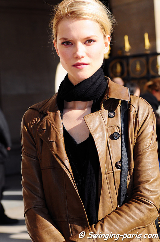 Kasia Struss outside Stella McCartney show, Paris Fashion Week, March 2011