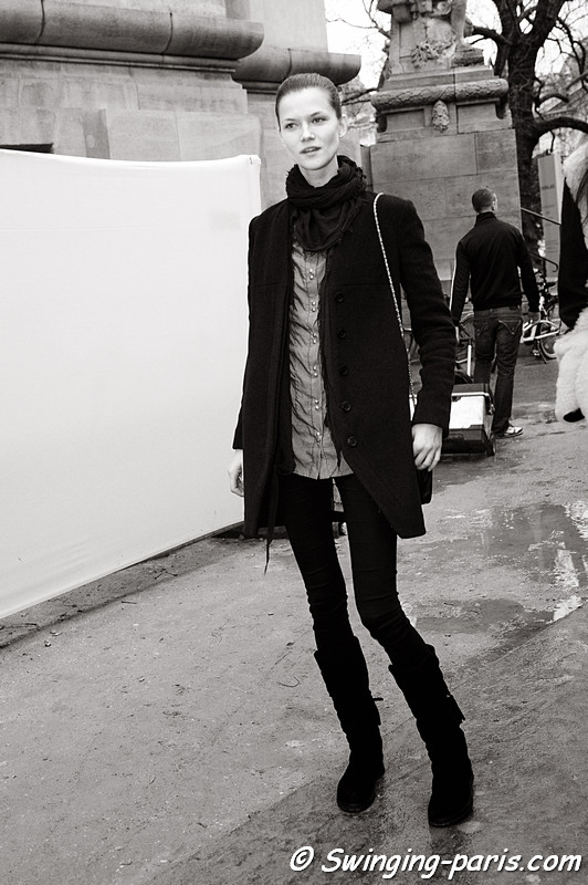 Kasia Struss outside Elie Saab show, Paris Haute Couture S/S 2012 Fashion Week, January 2012