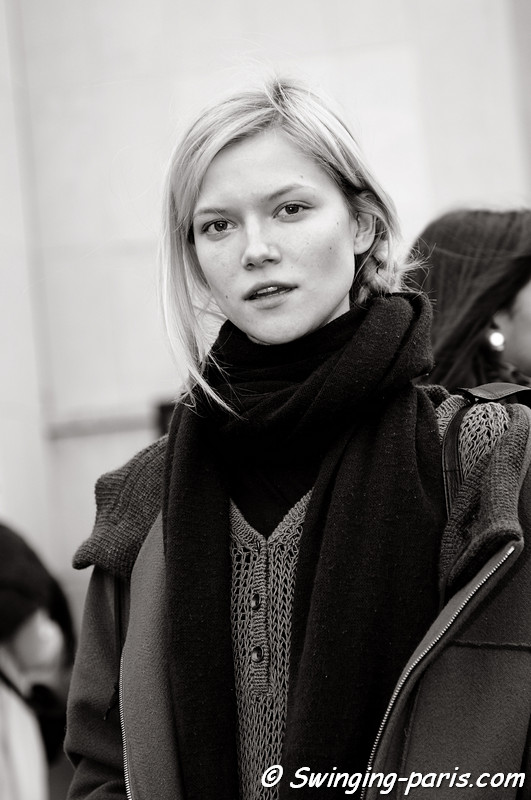 Kasia Struss outside Elie Saab show, Paris January 2011