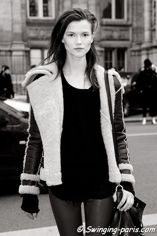 Kasia Struss leaving Balmain show, Paris F/W 2013 RtW Fashion Week, February 2013