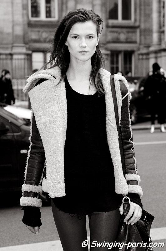 Kasia Struss leaving Balmain show, Paris F/W 2013 RtW Fashion Week, February 2013