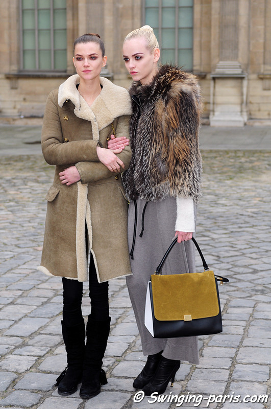 Kasia Struss (left) and Ginta Lapina leaving Louis Vuitton show, Paris F/W RtW 2012 Fashion Week, March 2012
