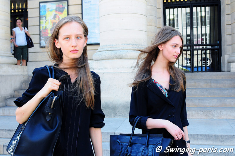Kasia Wrobel (left) and Daga ziober after Bouchra Jarrar show, Paris Haute Couture F/W Fashion Week, July 2011