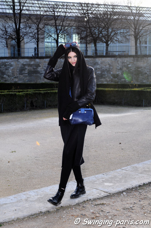 Kate Bogucharskaia leaving Elie Saab show, Paris F/W 2014 RtW Fashion Week, March 2014