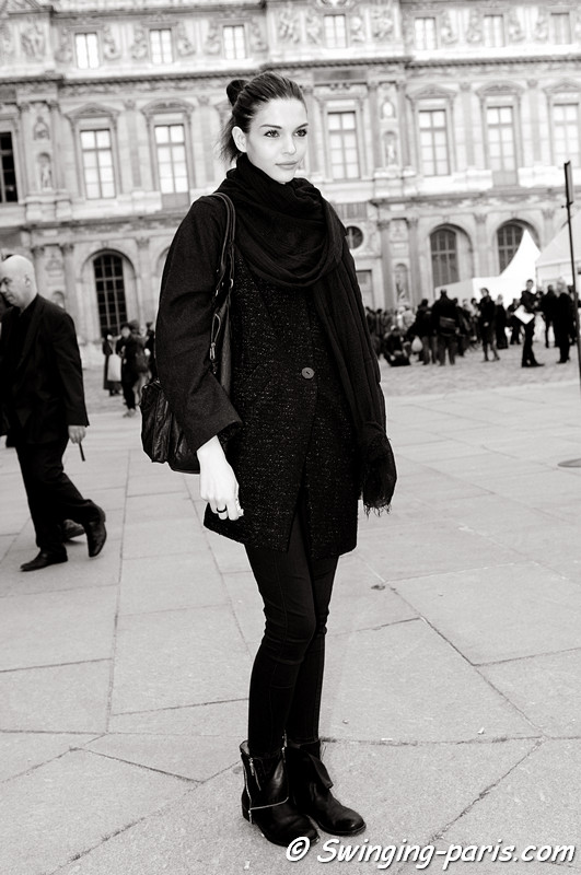 Kate Bogucharskaia leaving Louis Vuitton show, Paris S/S 2013 RtW Fashion Week, October 2012
