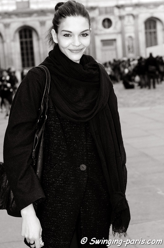 Kate Bogucharskaia leaving Louis Vuitton show, Paris S/S 2013 RtW Fashion Week, October 2012
