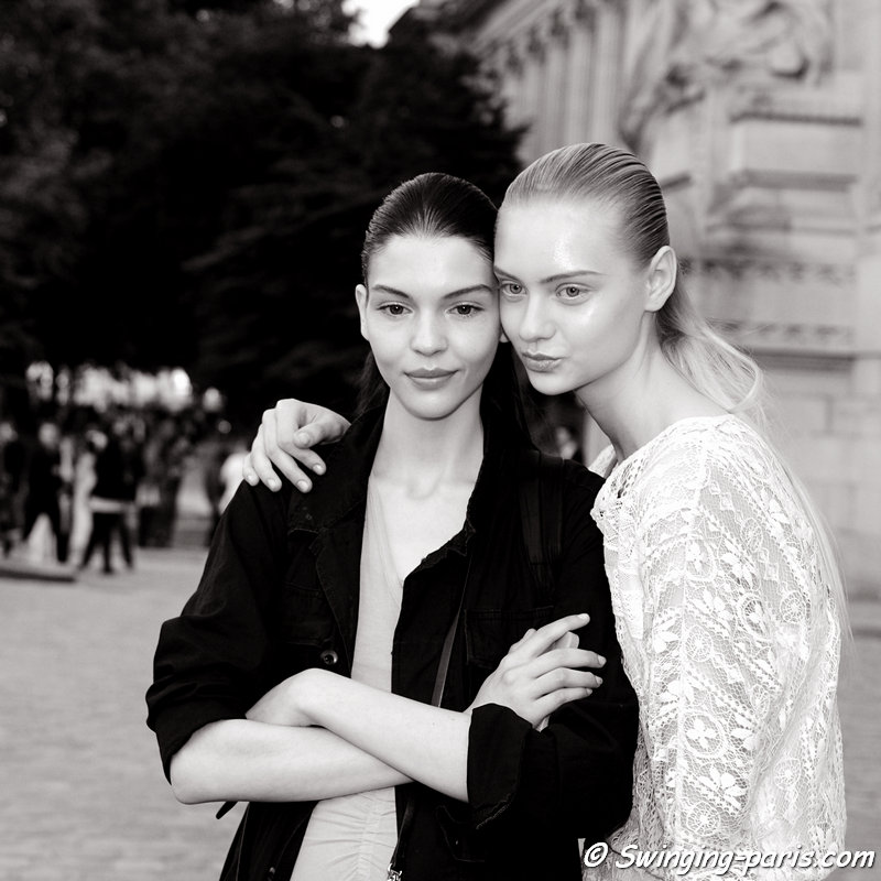 Kate Bogucharskaia (left) and Nastya Kusakina (Настя Кусакина) leaving Giambattista Valli show, Paris Haute Couture F/W 2013 Fashion Week, July 2013