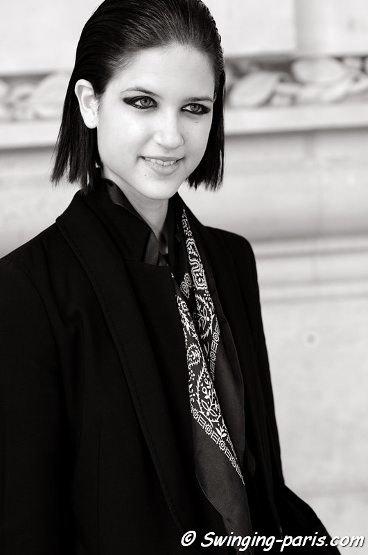 Kate Kondas outside Léonard show, Paris S/S 2013 RtW Fashion Week, October 2012