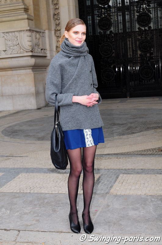 Kate Kosushkina (Кейт Косушкина) leaving Léonard show, Paris F/W RtW 2012 Fashion Week, March 2012