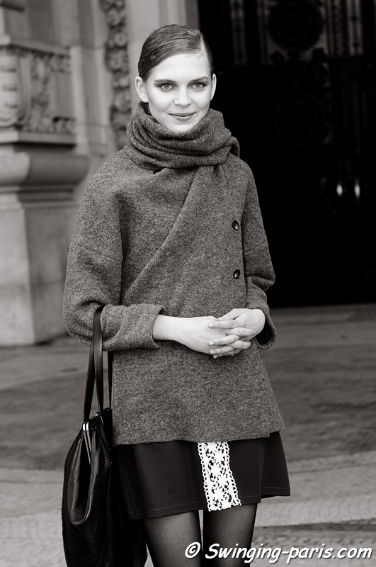 Kate Kosushkina ( ) leaving Lonard show, Paris F/W RtW 2012 Fashion Week, March 2012