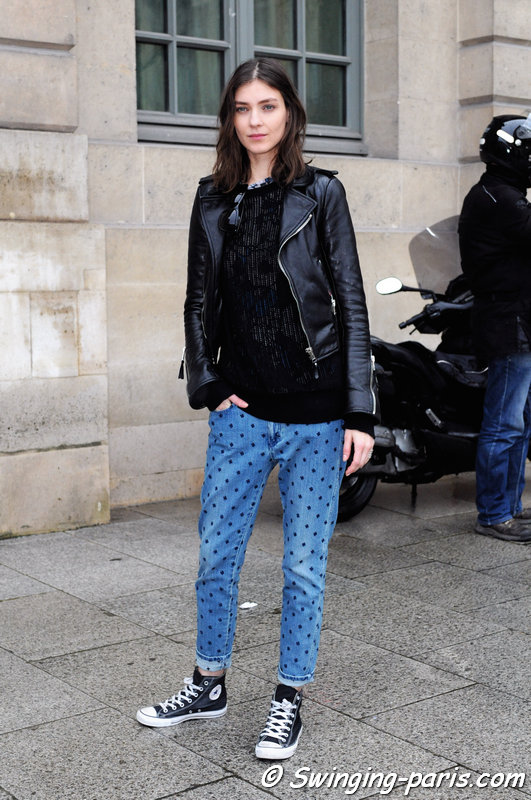 Kati Nescher exiting Emanuel Ungaro show, Paris F/W 2014 RtW Fashion Week, March 2014
