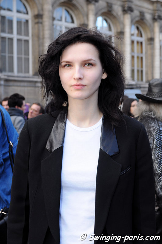 Katlin Aas outside Dries van Noten show, Paris F/W 2014 RtW Fashion Week, February 2014