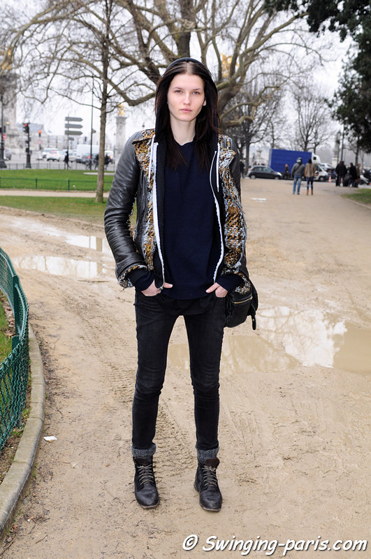 Katlin Aas outside Guy Laroche show, Paris F/W 2013 RtW Fashion Week, February 2013