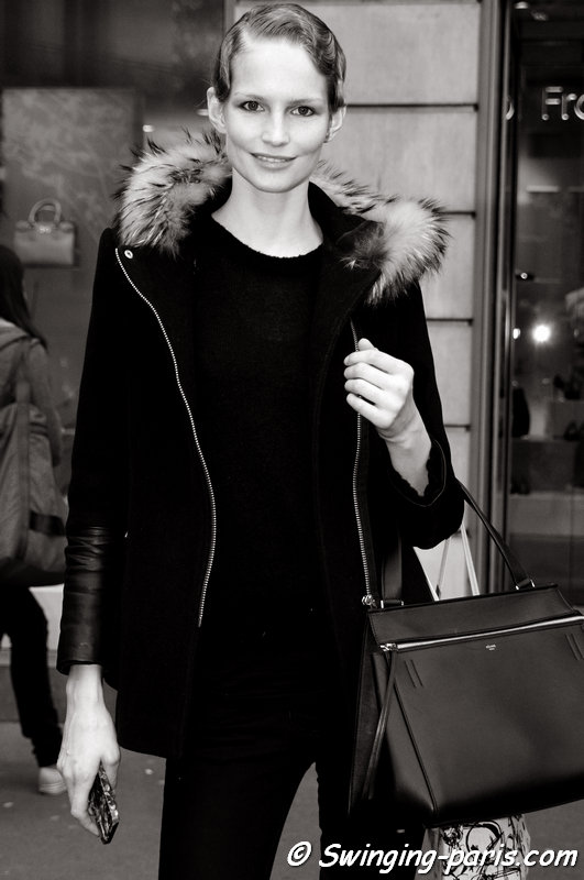 Katrin Thormann outside Ulyana Sergeenko show, Paris Haute Couture S/S 2014 Fashion Week, January 2014