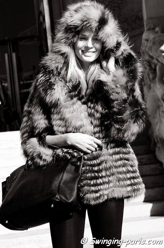 Katsia Zingarevich, born Katsia Damankova (Катя Даманькова), exiting Valentin Yudashkin show, Paris Fashion Week, March 2011