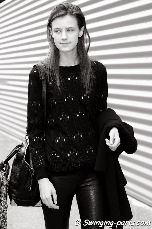 Kayley Chabot outside Dries van Noten show, Paris S/S 2014 RtW Fashion Week, September 2013