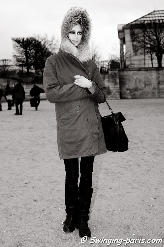 Kelli Lumi outside John Galliano show, Paris F/W RtW 2012 Fashion Week, March 2012