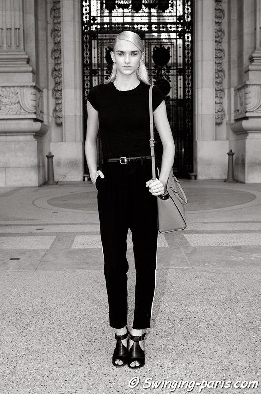 Kelsey Owens exiting Shiatzy Chen show, Paris S/S 2014 RtW Fashion Week, October 2013