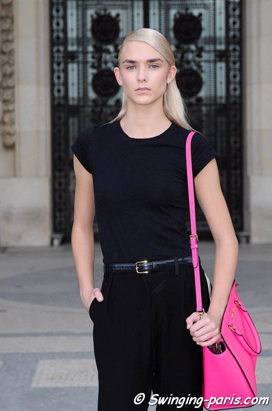 Kelsey Owens exiting Shiatzy Chen show, Paris S/S 2014 RtW Fashion Week, October 2013