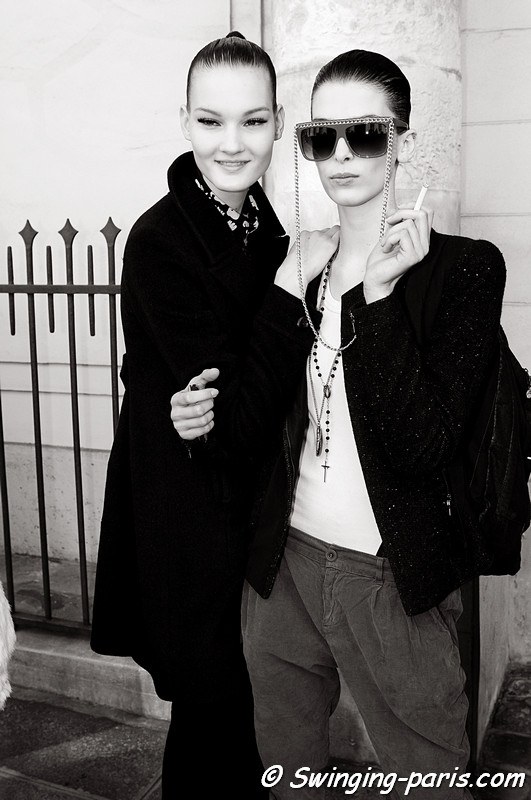 Kirsi Pyrhonen and Kristina Salinovic outside Emanuel Ungaro show, Paris Fashion Week, March 2011