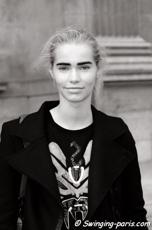 Kirstin Kragh Liljegren leaving Louis Vuitton show, Paris S/S 2014 RtW Fashion Week, October 2013