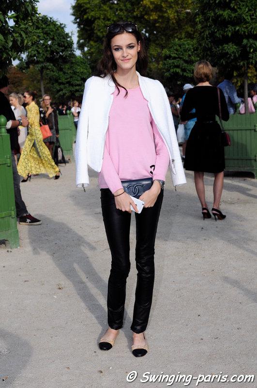 Kremi Otashliyska outside Elie Saab show, Paris S/S 2015 RtW Fashion Week, September 2014