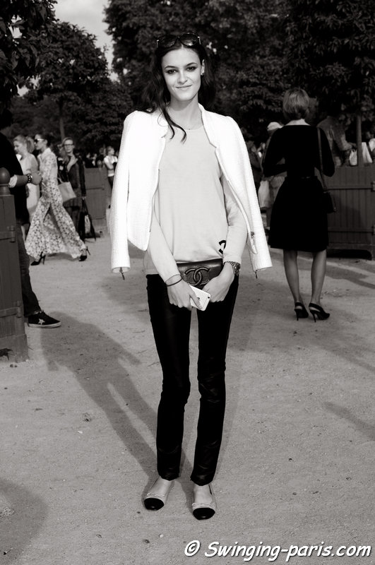 Kremi Otashliyska outside Elie Saab show, Paris S/S 2015 RtW Fashion Week, September 2014