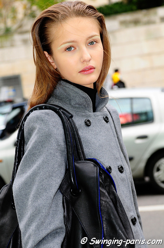 Kristina Romanova, leaving Dries Van Noten show (Paris, September 2010)