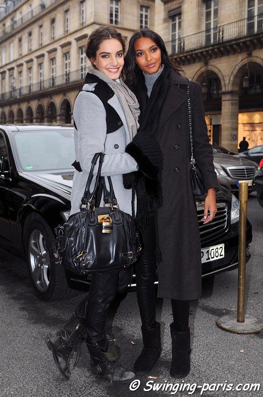 Lais Ribeiro and Mariana Coldebella (left) leaving Zuhair Murad show, Paris Haute Couture S/S 2013 Fashion Week, January 2013