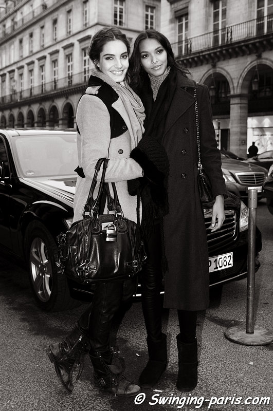 Lais Ribeiro and Mariana Coldebella (left) leaving Zuhair Murad show, Paris Haute Couture S/S 2013 Fashion Week, January 2013