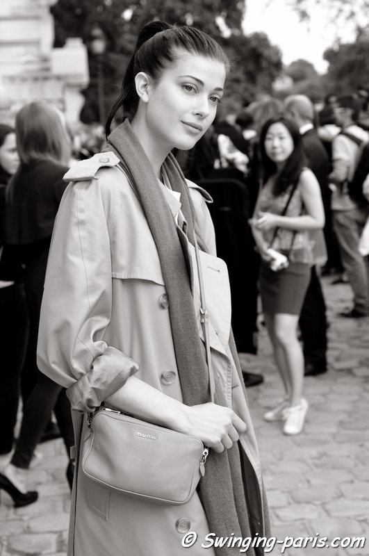Larissa Hofmann exiting Chanel show, Paris Haute Couture F/W 2014 Fashion Week, July 2014
