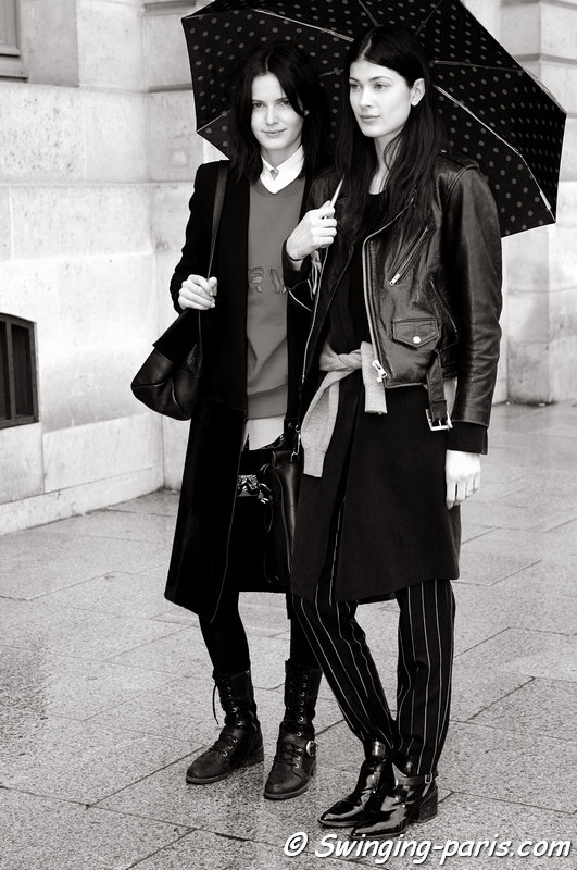 Larissa Hofmann and Zlata Mangafic (left) leaving Emanuel Ungaro show, Paris F/W 2014 RtW Fashion Week, March 2014