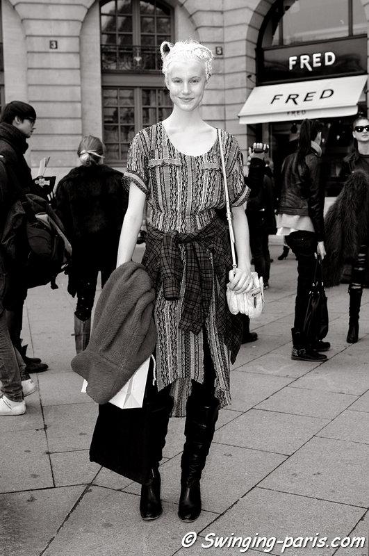 Lauren Bigelow exiting Moncler Gamme Rouge show, Paris F/W 2013 RtW Fashion Week, March 2013