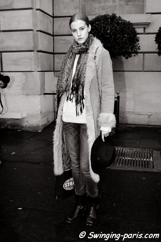 Lauren Bigelow outside Christophe Josse show, Paris Haute Couture S/S 2013 Fashion Week, January 2013