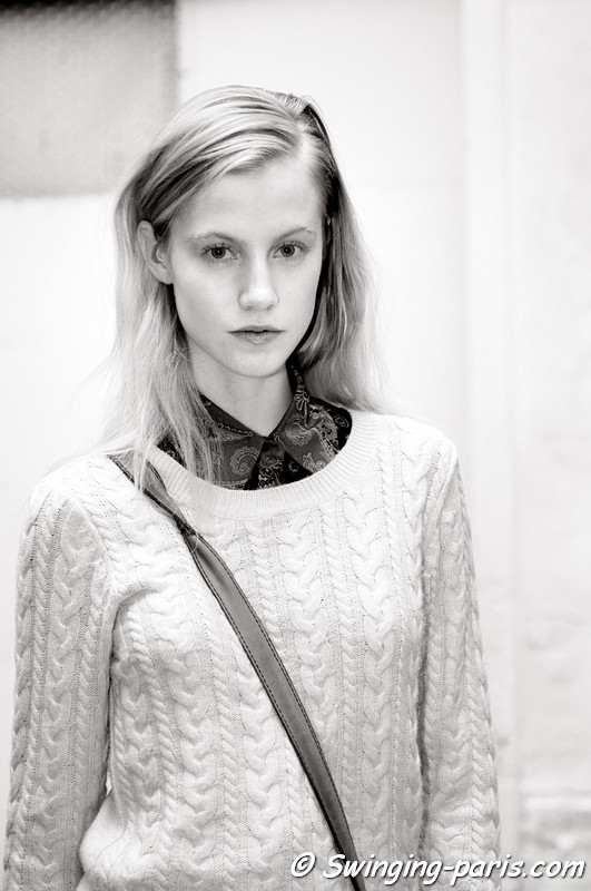 Lauren Bigelow outside Pedro Lourenço show, Paris S/S 2013 RtW Fashion Week, October 2012