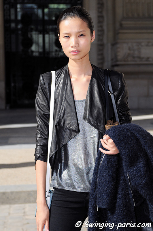 Leaf Zhang outside Léonard show, Paris S/S 2013 RtW Fashion Week, October 2012