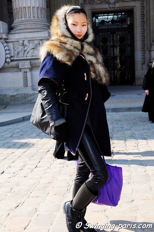Li Ming (formerly Carolyn Geh) leaving Amaya Arzuaga show, Paris Fashion Week, March 2011