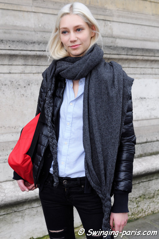 Lida Judickaite outside Yang Li show, Paris F/W 2014 RtW Fashion Week, February 2014
