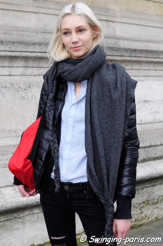 Lida Judickaite outside Yang Li show, Paris F/W 2014 RtW Fashion Week, February 2014