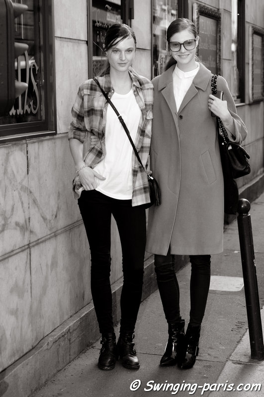 Lieve Dannau and Anastasia Ivanova (Анастасия Иванова, right) leaving Masha Ma show, Paris S/S 2014 RtW Fashion Week, October 2013