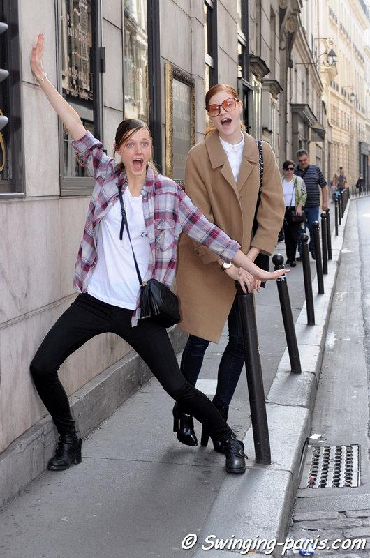 Lieve Dannau and Anastasia Ivanova (Анастасия Иванова, right) leaving Masha Ma show, Paris S/S 2014 RtW Fashion Week, October 2013