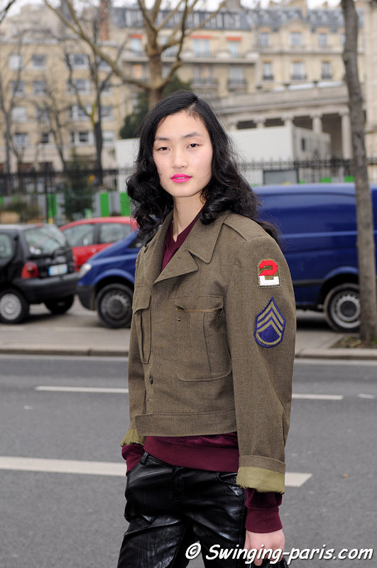 Lina Zhang outside Manish Arora show, Paris F/W 2013 RtW Fashion Week, February 2013