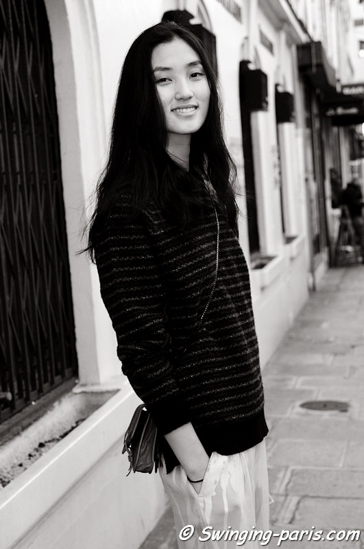 Lina Zhang outside Maison Martin Margiela show, Paris S/S 2013 RtW Fashion Week, September 2012