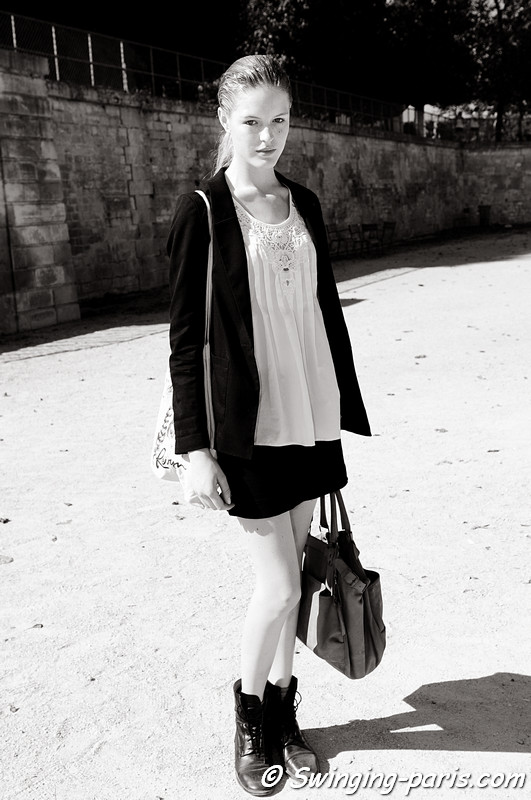 Linnea Regnander after Guy Laroche show, Paris S/S 2012 Fashion Week, September 2011