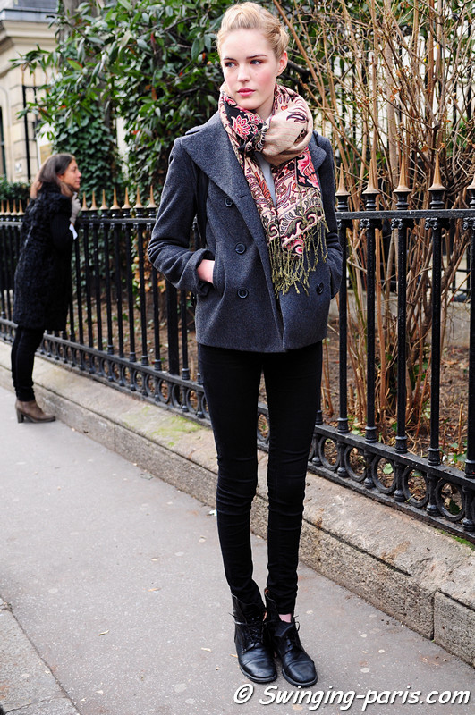 Linnea Regnander outside Christophe Josse show, Paris Haute Couture S/S 2012 Fashion Week, January 2012